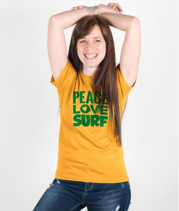 T-shirt tekst peace love surf