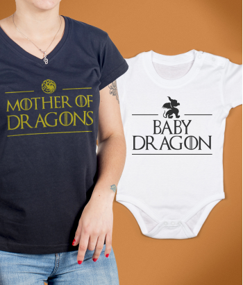 Maglietta di coppia mother y baby dragon