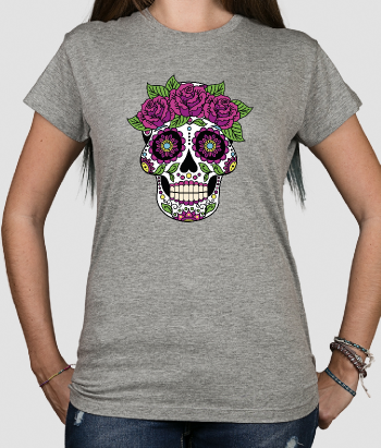 T-shirt divertente teschio rose