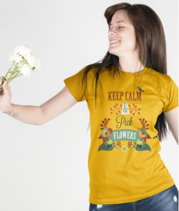 Camiseta keep calm pick flowers