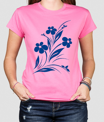 Camiseta flor ramillete ornamental