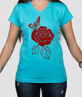 T-Shirt Rose mit Schmetterling