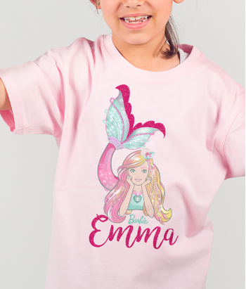 T-shirt Barbie sereia personalizável