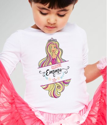 Camiseta Barbie para niña personalizable
