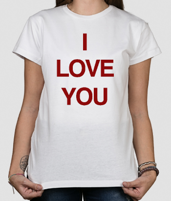 T-shirt con scritta I love you