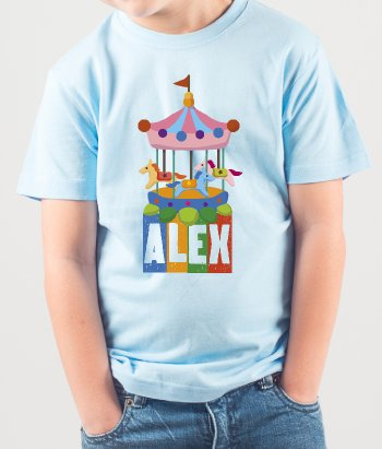 Personalisiertes Kinder T-Shirt Karussell
