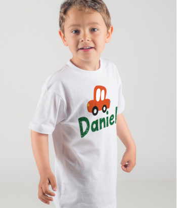 Personalisiertes Kinder T-Shirt Auto Name