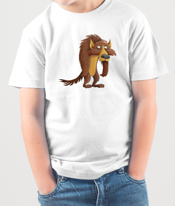 Grumpy cartoon wolf t-shirt