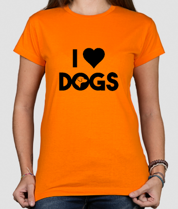 T-shirt texte I heart dogs