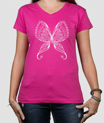 T-shirt fiore farfalle floreale