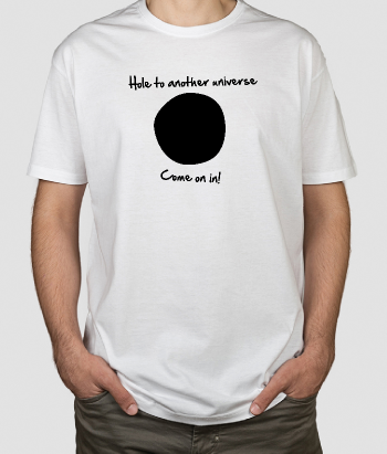 T-shirt con scritta hole to another universe