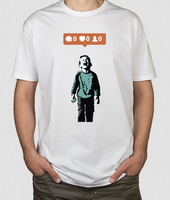 T-shirt Banksy ontwerp no likes