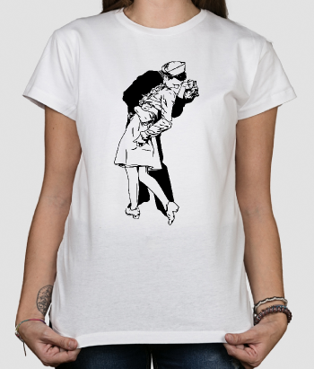 T-shirt retro con fotografia bacio New York
