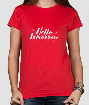 T-shirt tekst Hello Tomorrow