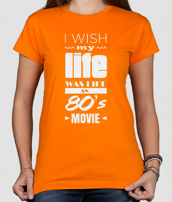 T-shirt con scritta Life 80s movie