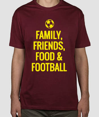 T-shirt scritta Family Friends Food and Football
