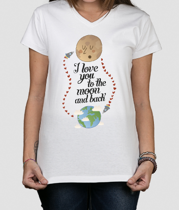 T-shirt con scritta i love you to the moon