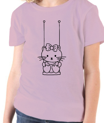 T-shirt animaux chat balancoire