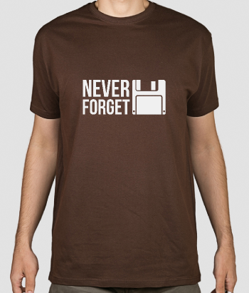 T-shirt geek floppy disk never forget