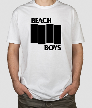 T-shirt música Beach Boy com logo Black Flag