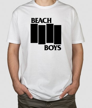 Camiseta música Beach Boy con logo Black Flag