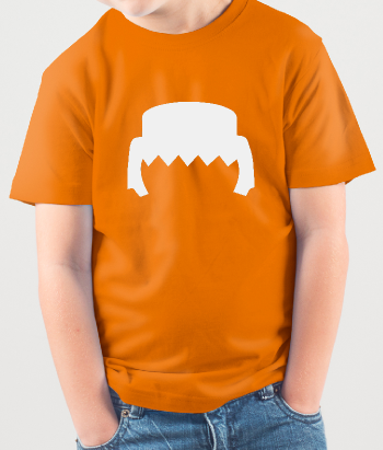 T-shirt divertente con testa playmobil