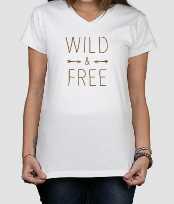 T shirt con scritta Wild and free Frecce