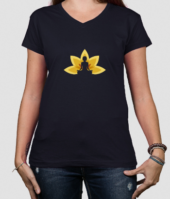 T-Shirt Frauen Meditation Blume