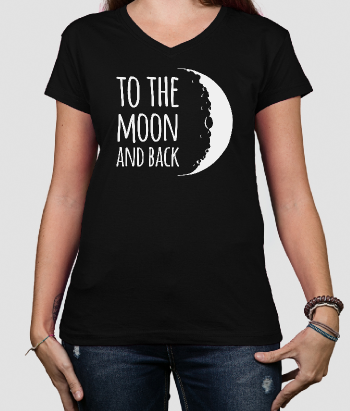 T-shirt con scritta To the moon and back