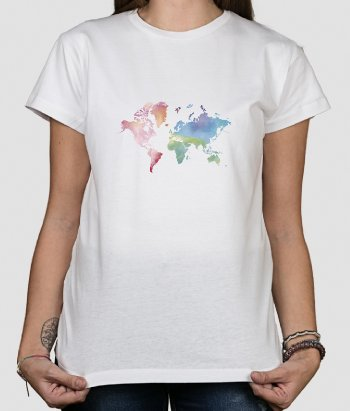 T-shirt carte du monde aquarelle