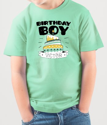 T-shirt Birthday boy cake
