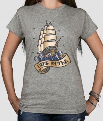 Camiseta retro tattoo barco