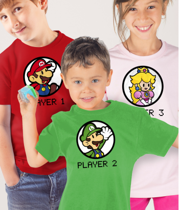 Camiseta dúo players Mario y Luigi