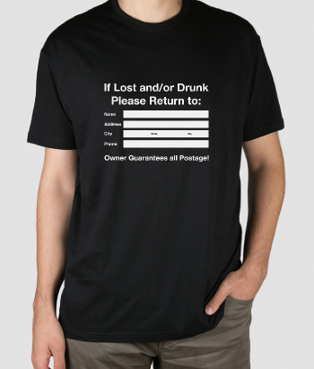 T-shirt if lost please return