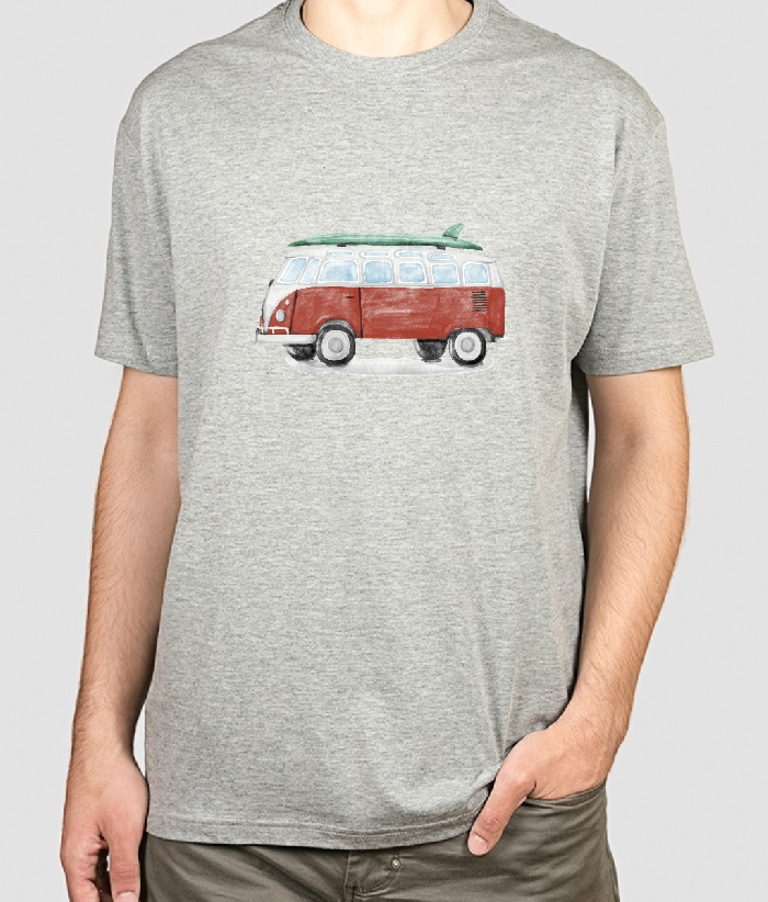 t shirt vw bus surfing aquarell dezuu. Black Bedroom Furniture Sets. Home Design Ideas