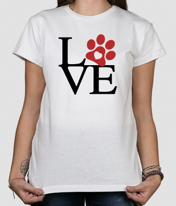 T-shirt Love hondenpootje