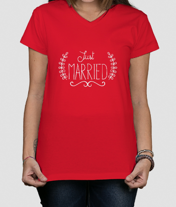 Camiseta boda just married
