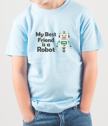 T-shirt per bambini my best friend is a robot