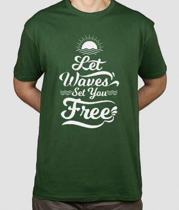 T-shirt surf Let waves set you free