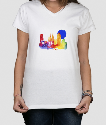 T-Shirt Skyline Barcelona Aquarell