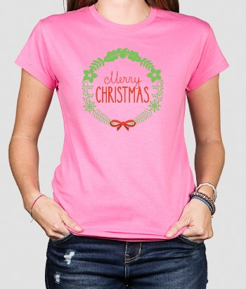 T-shirt Merry Christmas kerstkrans