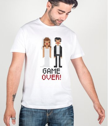 Camiseta despedida de soltero Game Over boda