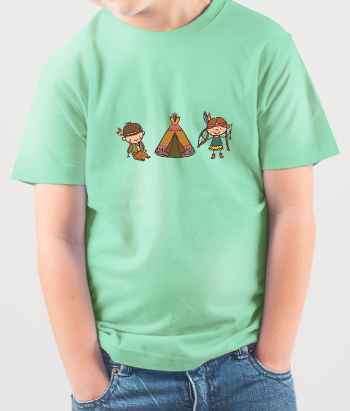 T-Shirt Kinder Indianer Zelt