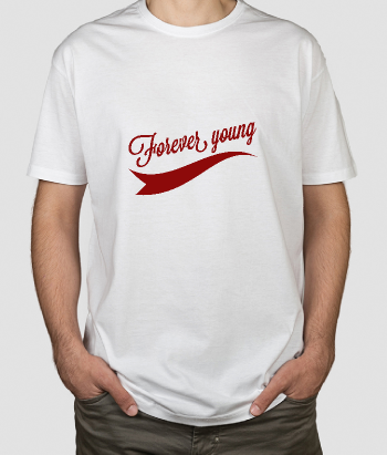T-shirt scritta forever young