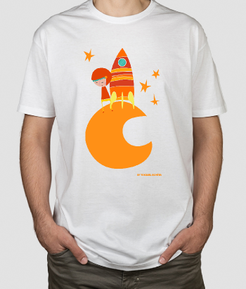 Kinder T-shirt Mond Rakete Orange