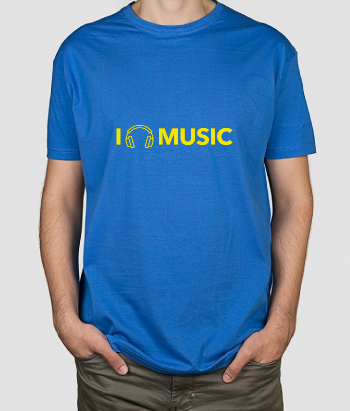T-shirt I love Music koptelefoon