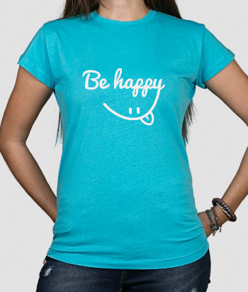 T-shirt con scritta be happy