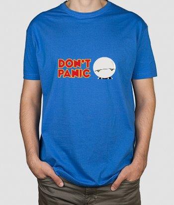 T-shirt geek Don't panic robot