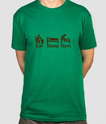 Camiseta con mensaje Eat Sleep Gym