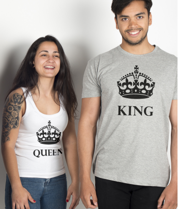 Pärchen T-Shirt King and Queen